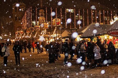 lumi, talvel, jõulud, jõuluturg, Nürnbergi, Lumehelbed, jõulud buden