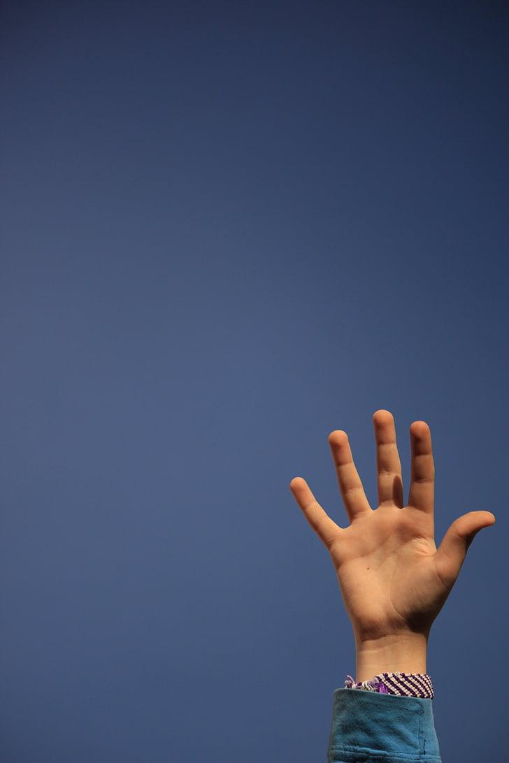 hand, hemel, kind, blauw, kinderen, vingers
