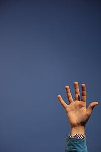 hand, sky, child, blue, children, fingers