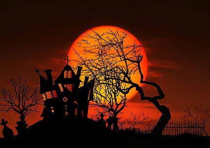 moon, night, full moon, gespenstig, mystical, midnight, creepy