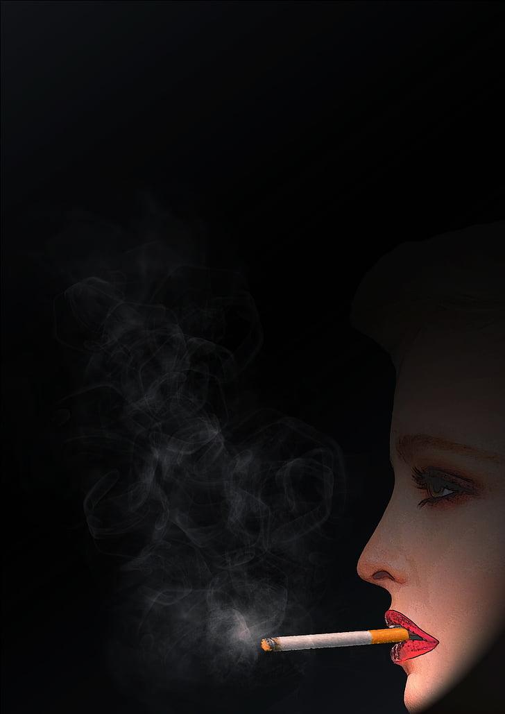 fumar, fresc, dona, fum, cigarret, brases, nicotina