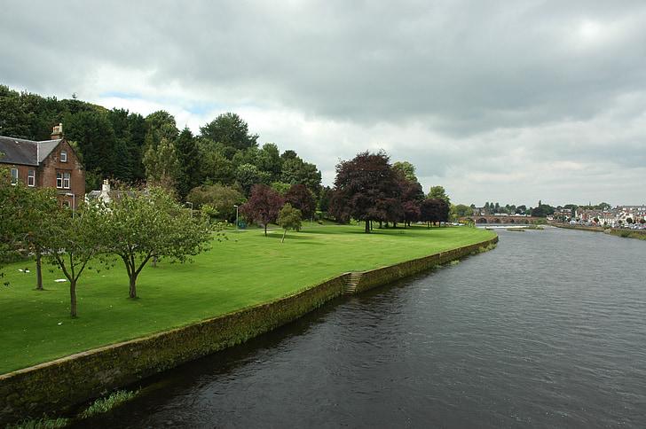 river, village, landscape