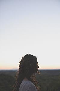 Děvče, osoba, obloha, Žena