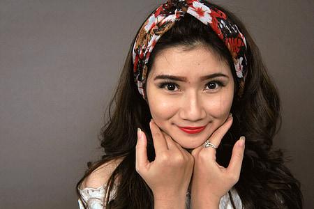 化妆, 女孩, 工作室, 脸上, 年轻, 模型, 皮肤