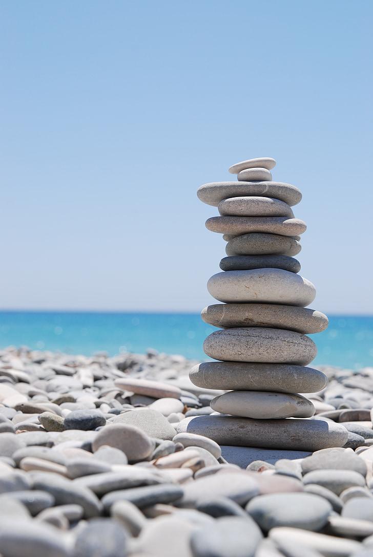 zen, stones, pebble, balance, stack, zen-like, stone - Object
