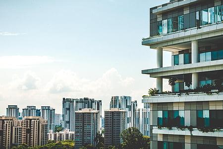 arsitektur, bangunan, infrastruktur, biru, langit, awan, pencakar langit