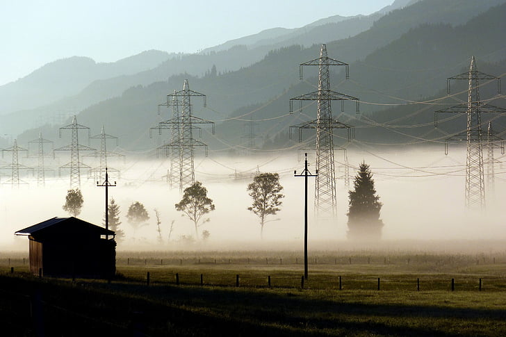 energia, telèfons fixos, pols de poder, actual, font d'alimentació, morgenstimmung, Boira baixa