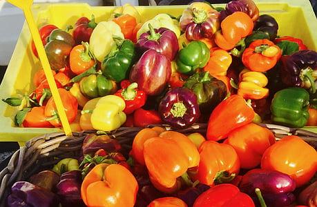 lauksaimniekiem tirgus, vietējās, bioloģiskās lauksaimniecības, augļi, krāsains, dārzeņi, dārzenis
