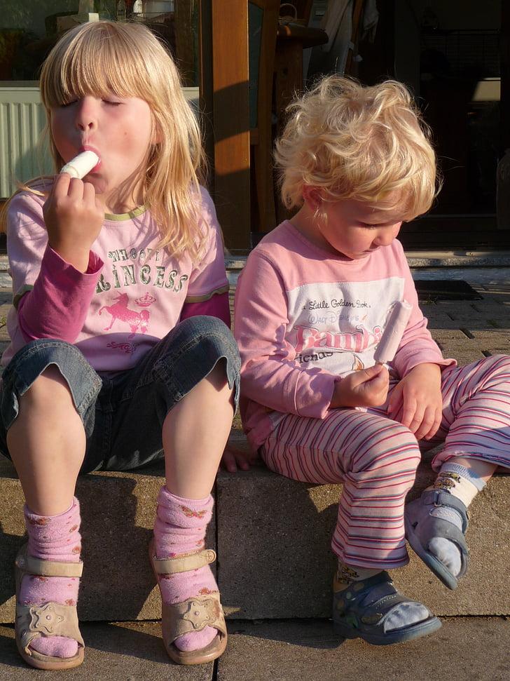 sommar, solen, Ice, glass, barn flickor, Blond, sandaler
