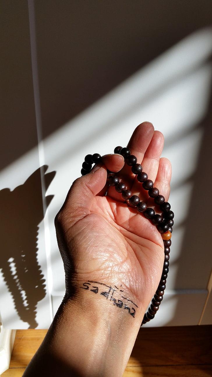 Yoga, Mala, Bidparels, hand, kralen, Meditatie, religie
