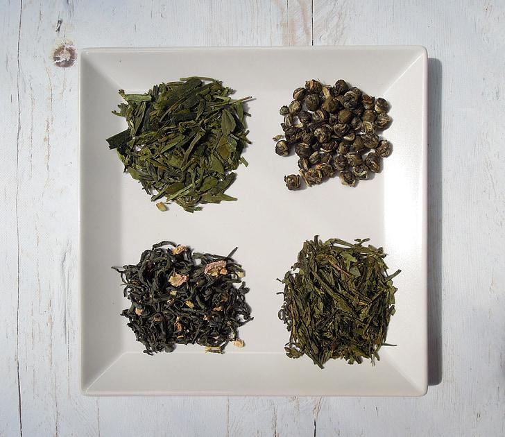 čajové lístky, čaj, zelený čaj, šálka, sušené listy, jedlo, suché