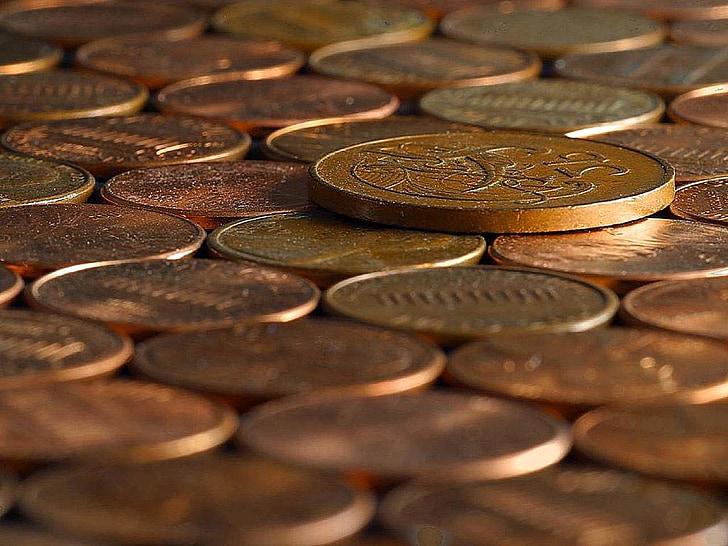 kupari, penniä, Penny, kolikot, laskut, rahaa