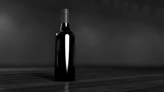 black, bottle, table, wine, drink, wine bottle, alcohol