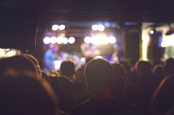 gruppe, folk, natt, tid, ytelse, scenekunst hendelse, publikum