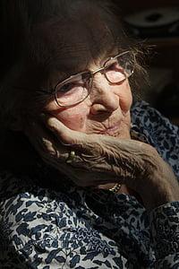 donna, vecchio, età, Casa di riposo, demenza, morbo di Alzheimer, Ritratto