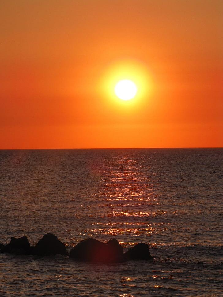 landskap, havet, Sand, våg, Rock, solnedgång, solsken
