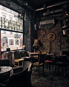 chairs, furniture, indoors, interior design, restaurant, room, rustic
