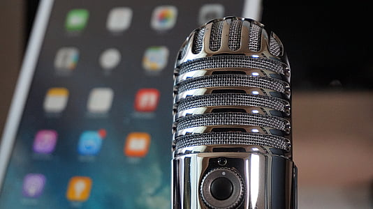 microphone, tablet, podcast, condenser microphone, home office