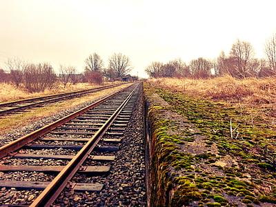 ferroviari, ferrocarril, vies del tren, transport, pistes, HDR, ferrocarril