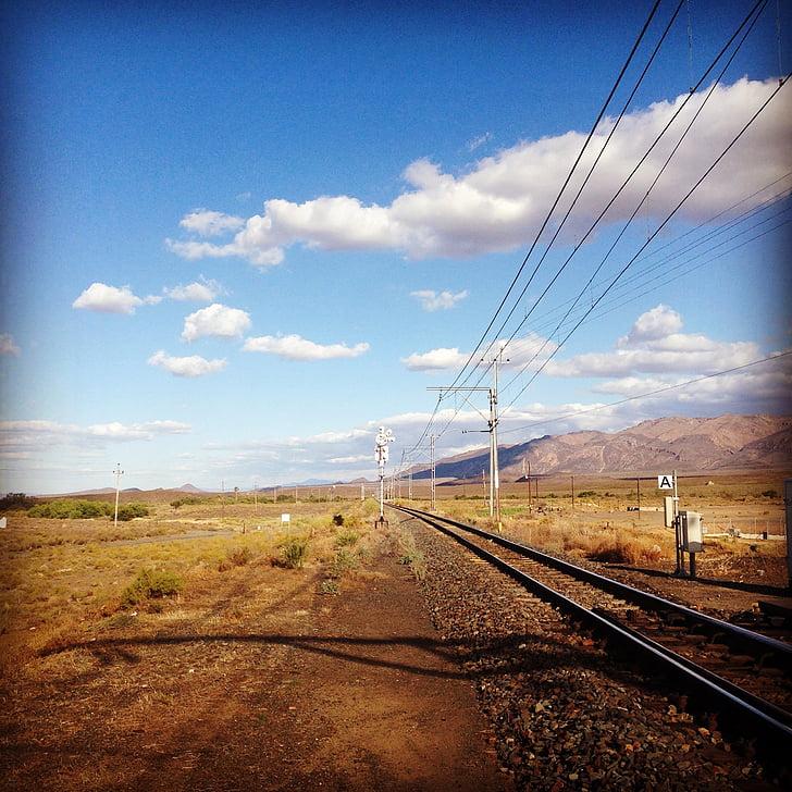 τρένο, ουρανός, σύννεφα, έρημο, ράγα, σιδηροδρόμων, ταξίδια