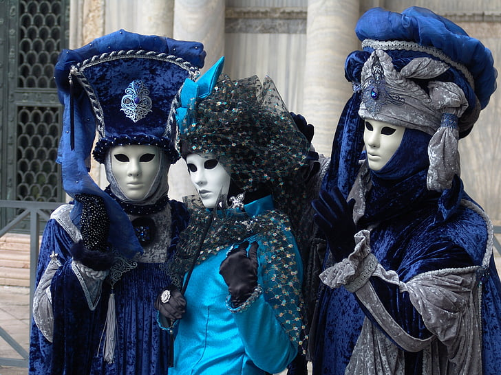 venice, italy, carnival, two people, headwear, blue, headdress