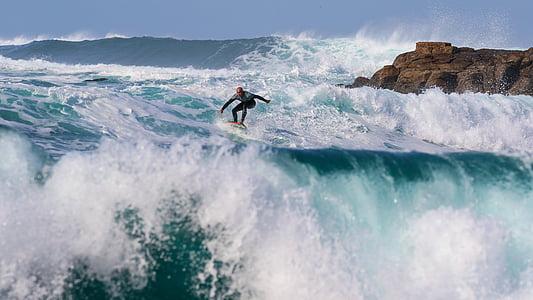 surfeur, Surf, vague, plage, océan, Conseil d'administration, planche de surf