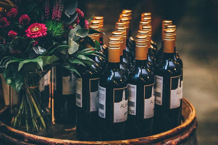 negre, vidre, ampolles, barra, estand, vermell, flors