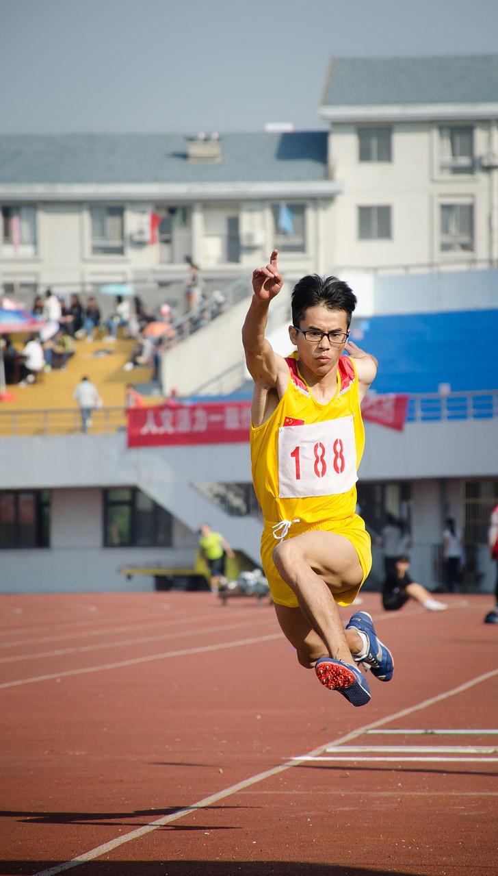 sportovní, skok daleký, spustit, materiál, Fotografie, sportovní, konkurence