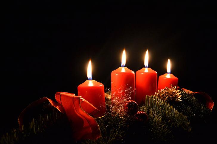 蜡烛, 圣诞节, 来临, 到来花圈, 圣诞节的时候