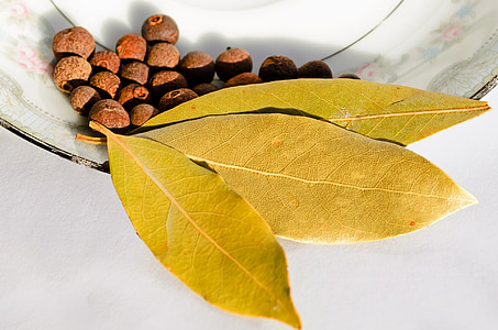 Smaržīgos piparus, aromātiskās, Bay leaf, ogu, ēdiena gatavošanai, sausais, aromāts