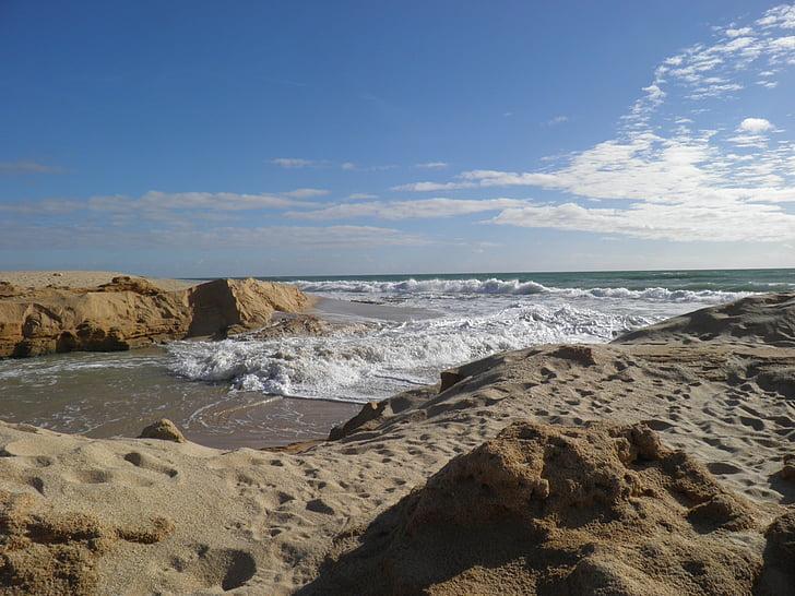 Lagoon, rikkominen, joen suun, Sea, Beach, aallot, Algarve