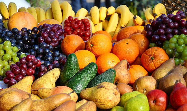 fruita, mixt, color, aliments, taronja - fruita, frescor, plàtan