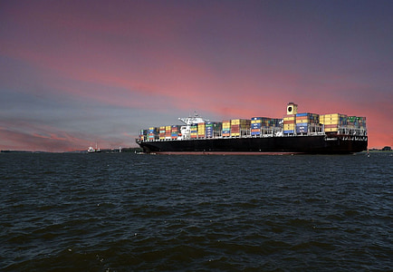 ship, container, boot, ships, cargo, transport freighter ship elbe, afterglow