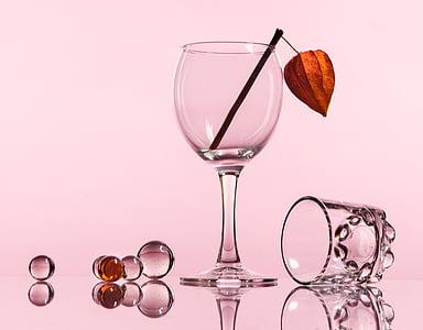 Natüürmort, klaas, peegeldus, kliirens, Wineglass, veini, Studio shot