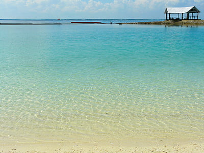 Cantik, jelas air, biru, Pantai, Costabella resort, Cebu, Filipina