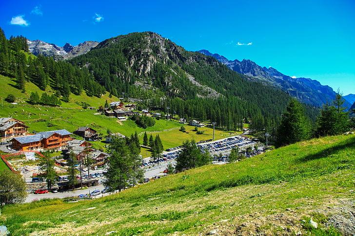 poble, muntanya, Alps, Itàlia, muntanya, natura, cel