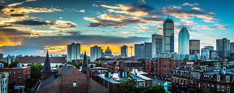 Boston, Massachusetts, cakrawala, Pusat kota, perkotaan, pemandangan kota, malam
