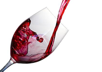 vi, esquitxades, vidre, vermell, l'alcohol, beguda, líquid