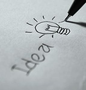 idea, de la escritura, Plan de, símbolo, pluma, visión, creativa