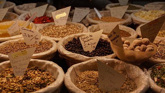 gia vị, thị trường, thực phẩm, thành phần, gian hàng, nhục đậu khấu, nấu ăn