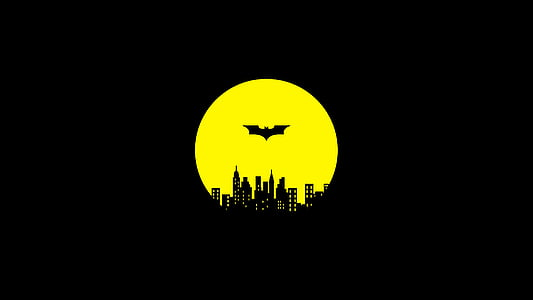 batman, gotham city, night, guardian, darknight, yellow, batman logo
