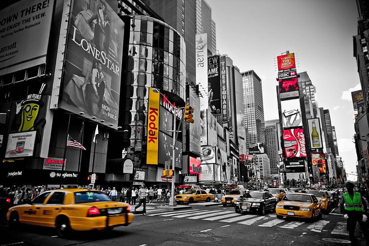 Niujorkas, raudona, geltona, Miestas, geltona kabinos, NYC, taksi