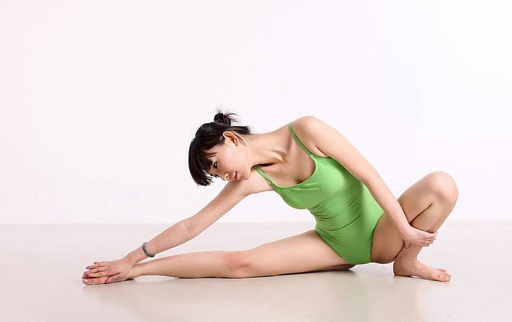 中国, ヨガ, ダンス, 重み, 女性, 姿勢, 女性