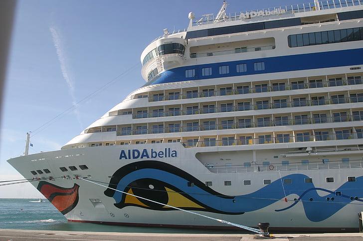 Aida, kryssningsfartyg, hamn, Malaga, fartyg, Aida bella, Spanien