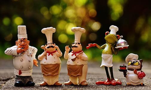 xefs, figures, divertit, cuinar, Restaurant, gastronomia, valent