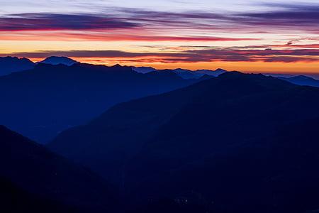 moln, bergen, naturen, soluppgång, solnedgång, Mountain, bergstopp