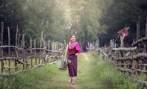 watering, for farming, smiling, in the country, thailand, outdoor, myanmar burma
