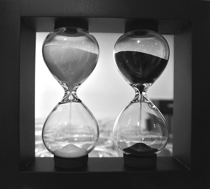 hourglass, black and white, comparison, time, black, white, black white