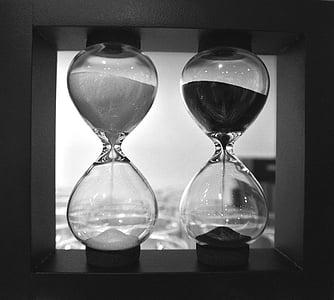 rellotge de sorra, blanc i negre, comparació, temps, negre, blanc, blanc de negre