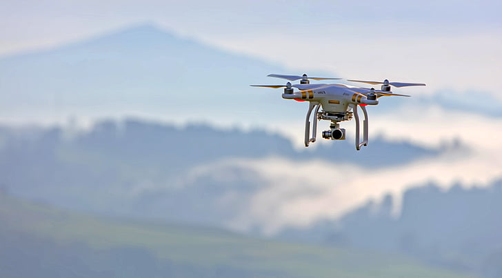 white, black, quadcopter, camera, drone fly, flying, mid-air
